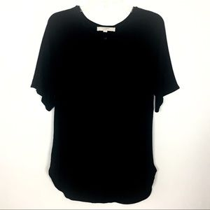 LOFT Black Short Sleeve Keyhole Front Top M
